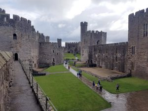 Caernarfon castle viewed from high on the battlements.