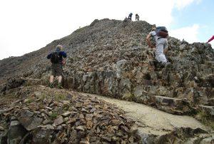 Climbing up the craggy path to Crib Goch.