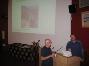 Me giving a travel talk at the Globetrotters.