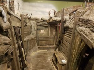 A re-creation of wartime trenches.