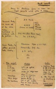 An old page or writting, showing Monty's plan for D Day.
