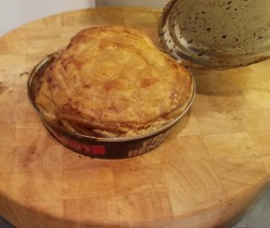 A Fray Bentos steak and kidney pie, straight out of the oven.