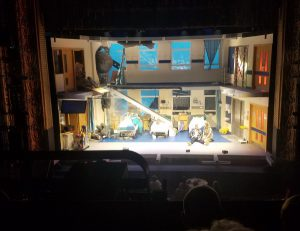 "A hospital scene on stage from the production ""The Royal"" in Liverpool."