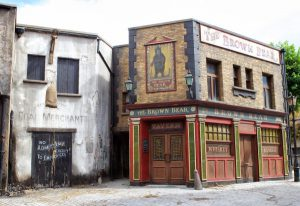 Studio set showing the front of an old pub.