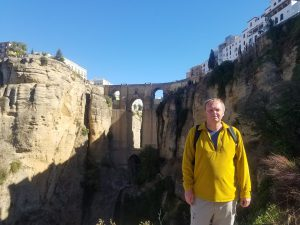 Me standing in front of the bridge at Ronda