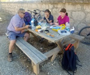 Having a picnic on the trail