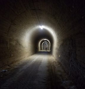 One of the long tunnels on the trail
