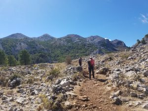 Walking in mountains with perfect weather