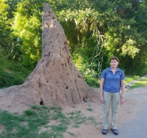 Nikki standing next to a giant termite nest