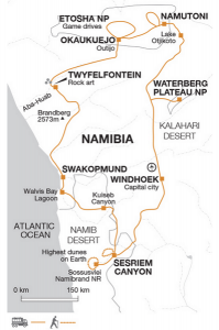 An itinerary map of our Namibia trip