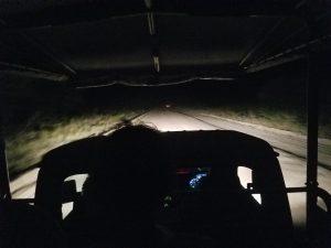 In our jeep on night safari