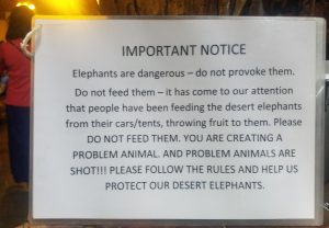 Warning about feeding animals