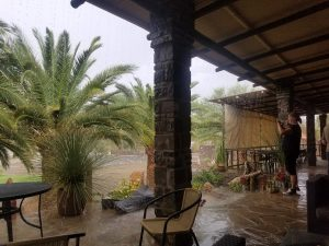 Pouring rain outside the Zebra lodge