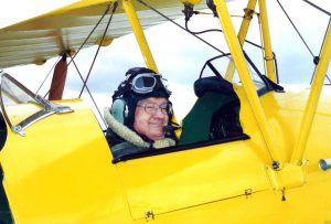 """dad"" in a Yellow Tiger Moth."