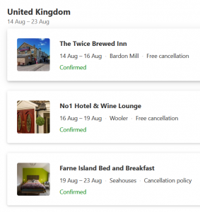 LIst of bookings in Northumberland